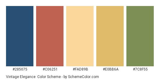 Vintage Elegance - Color scheme palette thumbnail - #285075 #c06251 #fad89b #e0bb6a #7c8f55