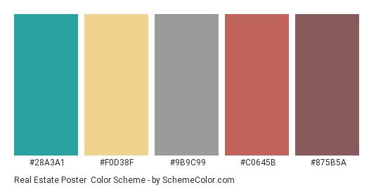 Real Estate Poster - Color scheme palette thumbnail - #28a3a1 #f0d38f #9b9c99 #c0645b #875b5a