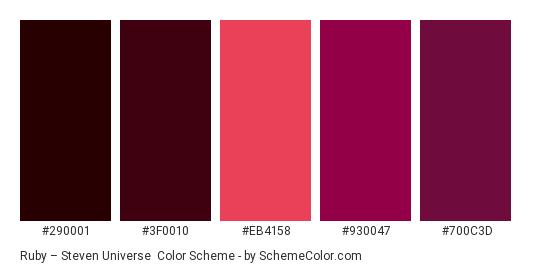 Ruby – Steven Universe - Color scheme palette thumbnail - #290001 #3f0010 #eb4158 #930047 #700c3d