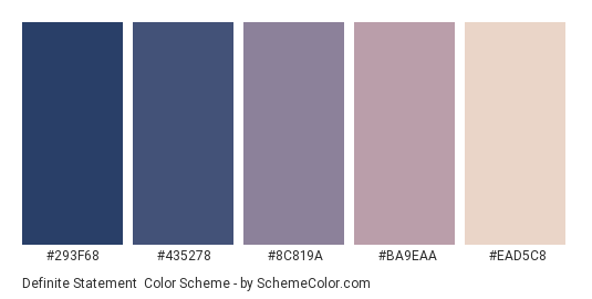 Definite Statement - Color scheme palette thumbnail - #293F68 #435278 #8C819A #BA9EAA #EAD5C8