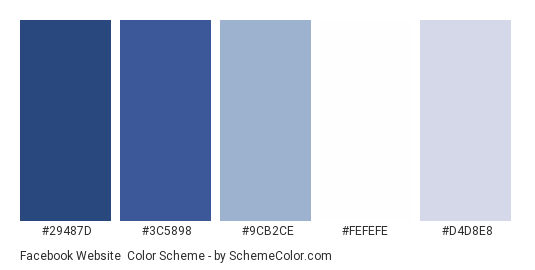 Facebook Website - Color scheme palette thumbnail - #29487d #3c5898 #9cb2ce #fefefe #d4d8e8
