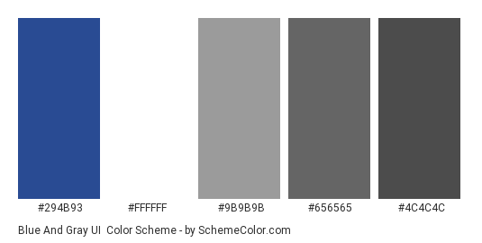 Blue and Gray UI - Color scheme palette thumbnail - #294b93 #ffffff #9b9b9b #656565 #4c4c4c