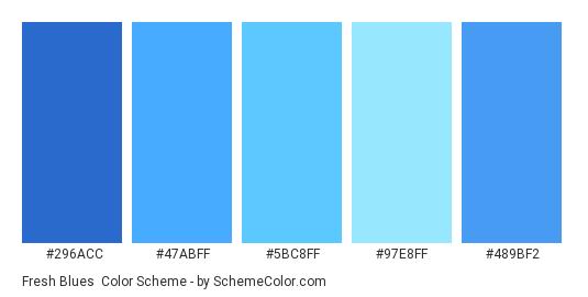 Fresh Blues - Color scheme palette thumbnail - #296acc #47abff #5bc8ff #97e8ff #489bf2