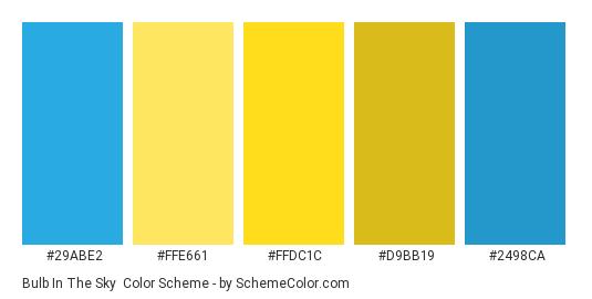 Bulb in the Sky - Color scheme palette thumbnail - #29abe2 #ffe661 #ffdc1c #d9bb19 #2498ca