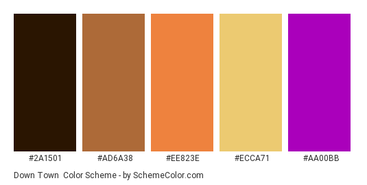 Down Town - Color scheme palette thumbnail - #2A1501 #AD6A38 #EE823E #ECCA71 #AA00BB