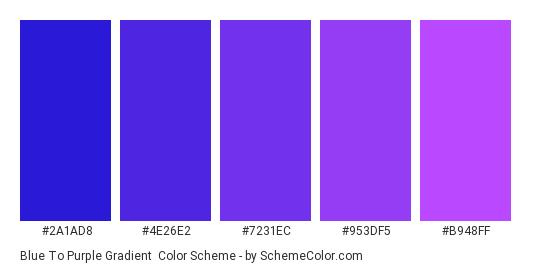 Blue to Purple Gradient - Color scheme palette thumbnail - #2A1AD8 #4E26E2 #7231EC #953DF5 #B948FF