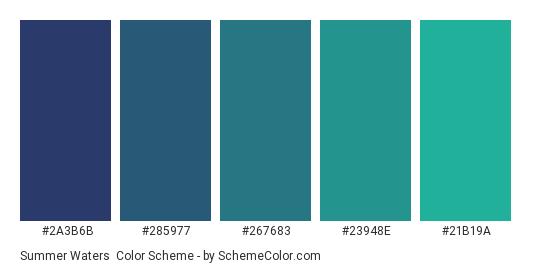 Summer Waters - Color scheme palette thumbnail - #2A3B6B #285977 #267683 #23948E #21B19A