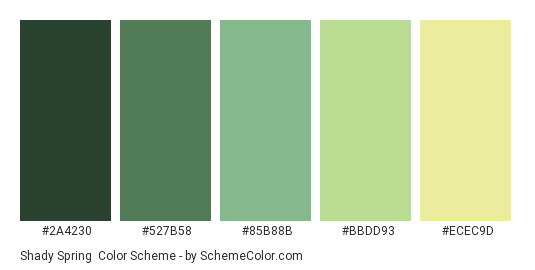 Shady Spring - Color scheme palette thumbnail - #2A4230 #527B58 #85B88B #BBDD93 #ECEC9D