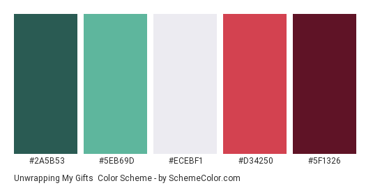 Unwrapping my Gifts - Color scheme palette thumbnail - #2A5B53 #5EB69D #ECEBF1 #D34250 #5F1326