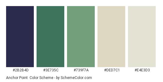 Anchor Point - Color scheme palette thumbnail - #2B2B4D #3E735C #739F7A #DED7C1 #E4E3D3