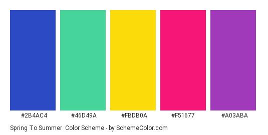 Spring to Summer - Color scheme palette thumbnail - #2B4AC4 #46D49A #FBDB0A #F51677 #A03ABA