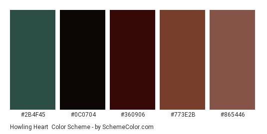 Howling Heart - Color scheme palette thumbnail - #2B4F45 #0C0704 #360906 #773E2B #865446