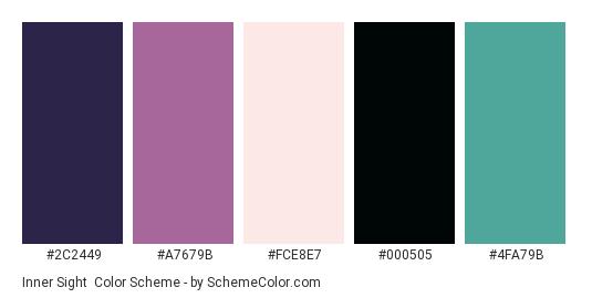 Inner Sight - Color scheme palette thumbnail - #2C2449 #A7679B #FCE8E7 #000505 #4FA79B