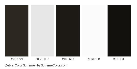 Zebra - Color scheme palette thumbnail - #2C2721 #E7E7E7 #1D1A16 #FBFBFB #13110E
