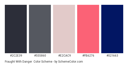 Fraught with Danger - Color scheme palette thumbnail - #2C2E39 #555860 #E2CAC9 #FB6276 #021663