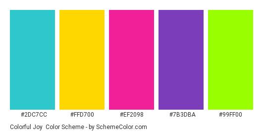 Colorful Joy - Color scheme palette thumbnail - #2DC7CC #FFD700 #EF2098 #7B3DBA #99FF00