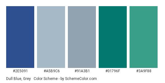 Dull Blue, Grey & Green - Color scheme palette thumbnail - #2E5091 #A5B9C6 #91A3B1 #01796F #3a9f88