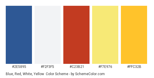 Blue, Red, White, Yellow - Color scheme palette thumbnail - #2E5895 #F2F3F5 #C23B21 #f7e976 #ffc32b