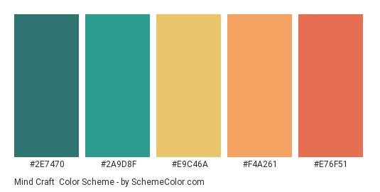 Mind Craft - Color scheme palette thumbnail - #2E7470 #2A9D8F #E9C46A #F4A261 #E76F51