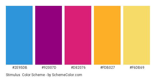 Stimulus - Color scheme palette thumbnail - #2E95DB #92007D #D82076 #FDB027 #F6DB69