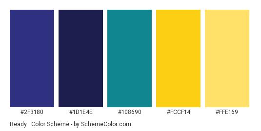 Ready & Charged - Color scheme palette thumbnail - #2F3180 #1D1E4E #108690 #FCCF14 #FFE169