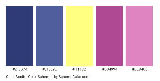 Calor Bonito - Color scheme palette thumbnail - #2F3B74 #515E9E #FFFF82 #B04994 #DE84C0