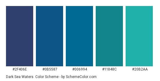Dark Sea Waters - Color scheme palette thumbnail - #2F406E #0B5587 #006994 #11848C #20B2AA
