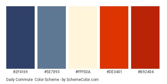 Daily Commute - Color scheme palette thumbnail - #2F4169 #5E7893 #FFF5DA #DE3401 #B92404