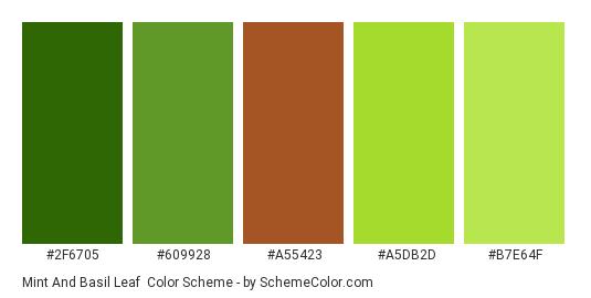 Mint and Basil Leaf - Color scheme palette thumbnail - #2F6705 #609928 #A55423 #A5DB2D #B7E64F
