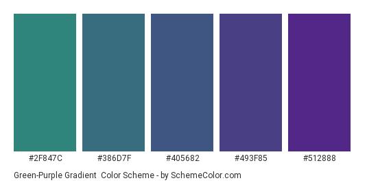 Green-Purple Gradient - Color scheme palette thumbnail - #2F847C #386D7F #405682 #493F85 #512888