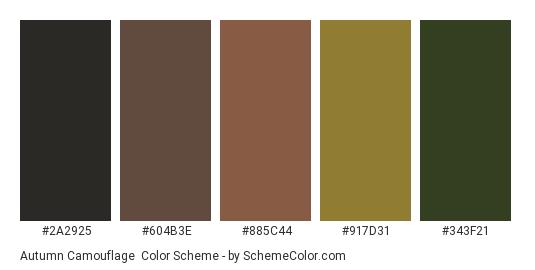 Autumn Camouflage - Color scheme palette thumbnail - #2a2925 #604b3e #885c44 #917d31 #343f21