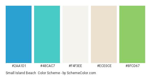Small Island Beach - Color scheme palette thumbnail - #2aa1d1 #48cac7 #f4f3ee #ece0ce #8fcd67