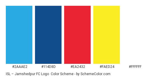 ISL – Jamshedpur FC Logo - Color scheme palette thumbnail - #2aaae2 #114d8d #ea2432 #faed24 #ffffff