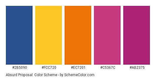 Absurd Proposal - Color scheme palette thumbnail - #2b5090 #fcc720 #ec7201 #c5367c #ab2375