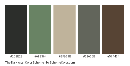 The Dark Arts - Color scheme palette thumbnail - #2c2e2b #698364 #bfb39b #62655b #574434