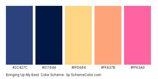 Bringing up my Best - Color scheme palette thumbnail - #2c427c #011844 #FFD684 #FFA37B #FF63A0