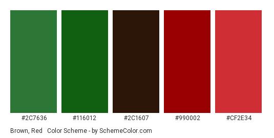 Brown, Red & Green - Color scheme palette thumbnail - #2c7636 #116012 #2c1607 #990002 #cf2e34