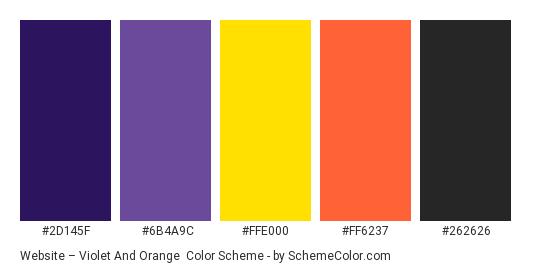 Website – Violet and Orange - Color scheme palette thumbnail - #2d145f #6b4a9c #ffe000 #ff6237 #262626