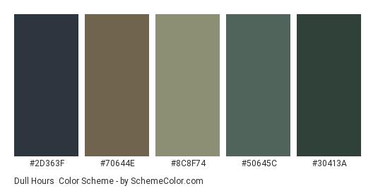Dull Hours - Color scheme palette thumbnail - #2d363f #70644e #8c8f74 #50645c #30413a