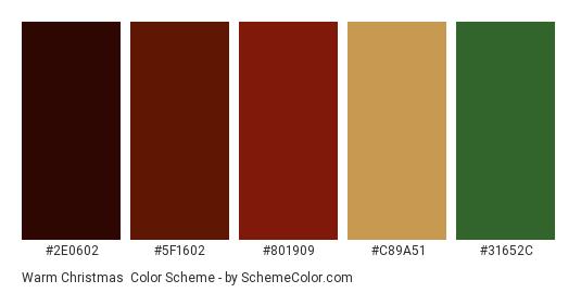 Warm Christmas - Color scheme palette thumbnail - #2e0602 #5f1602 #801909 #c89a51 #31652c