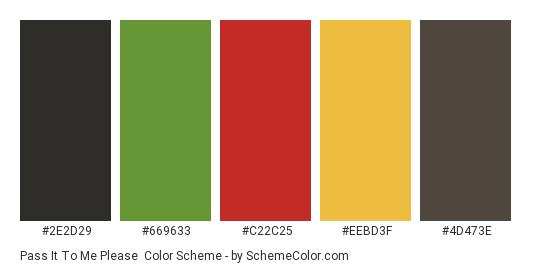 Pass It To Me Please - Color scheme palette thumbnail - #2e2d29 #669633 #c22c25 #eebd3f #4d473e