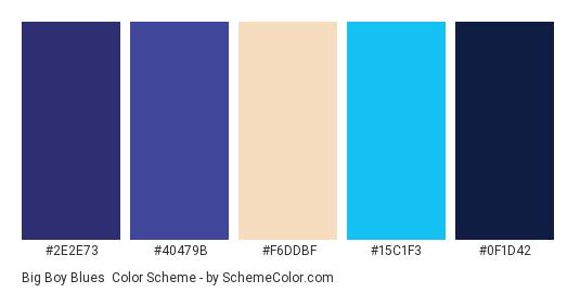 Big Boy Blues - Color scheme palette thumbnail - #2e2e73 #40479b #f6ddbf #15c1f3 #0f1d42