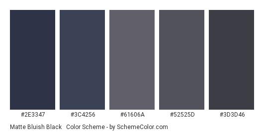 Matte Bluish Black & Gray - Color scheme palette thumbnail - #2e3347 #3c4256 #61606a #52525d #3d3d46