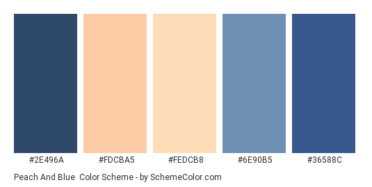 Peach and Blue - Color scheme palette thumbnail - #2e496a #fdcba5 #FeDcB8 #6e90b5 #36588c