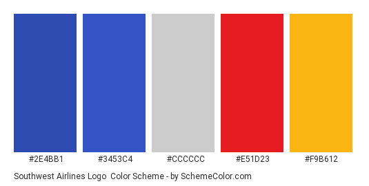 Southwest Airlines Logo - Color scheme palette thumbnail - #2e4bb1 #3453c4 #cccccc #e51d23 #f9b612