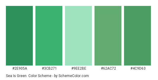 Sea is Green - Color scheme palette thumbnail - #2e905a #3cb271 #9ee2be #62ac72 #4c9d63