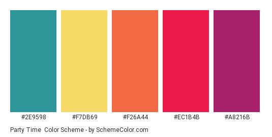 Party Time - Color scheme palette thumbnail - #2e9598 #f7db69 #f26a44 #ec1b4b #a8216b