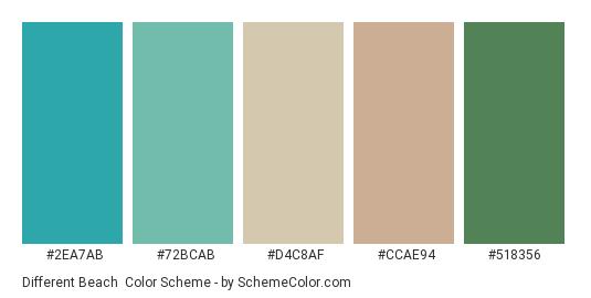Different Beach - Color scheme palette thumbnail - #2ea7ab #72bcab #d4c8af #ccae94 #518356