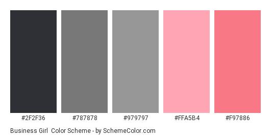 Business Girl - Color scheme palette thumbnail - #2f2f36 #787878 #979797 #ffa5b4 #f97886