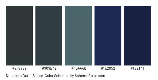 Deep Into Outer Space - Color scheme palette thumbnail - #2f3939 #303e42 #4b666b #1e2852 #182141